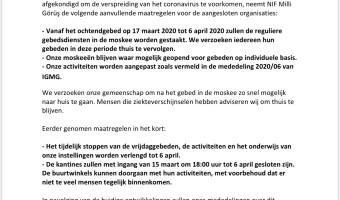 4. Mededeling: tot 6 april 2020 zullen de reguliere gebedsdiensten in de moskee worden gestaakt
